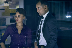 HUNTERS -- Season:1 -- Pictured: (l-r) Britne Oldford as Allison Regan, Lewis Fitz-Gerald as Truss Jackson -- (Photo by: Peter Brew-Bevan/Syfy)