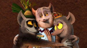 B King Julien gives a lemur hug to his longlost parents, Princess Julienne (Angelica Huston), and Prince Barty (John Michael Higgins) in Season 3 of All Hail King Julien, premiering on Netflix June 17.