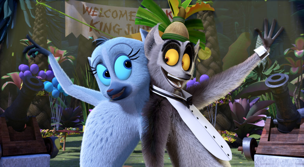 Karen (Ellie Kemper) and King Julien (Danny Jacobs) relive their glory days on the dance floor in Season 3 of All Hail King Julien, premiering on Netflix June 17.