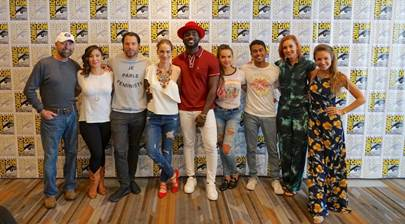 From L to R: Comic book creator Beau Smith, Showrunner Emily Andras, Tim Rozon, Melanie Scrofano, Shamier Anderson, Tamara Duarte, Varun Saranga, Katherine Barrell, Dominique Provost-Chalkley; Photo by: Robbie Robbins/ IDW Publishing