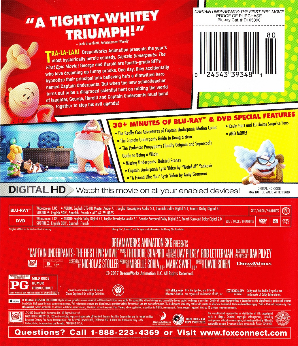 Blu Ray Review Captain Underpants The First Epic Movie Noreruns Net