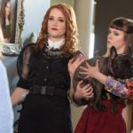 Grace (played by Chanelle Peloso) and Diedre Decker (played by Johannah Newmarch) hold Bruno, Kat's dog.